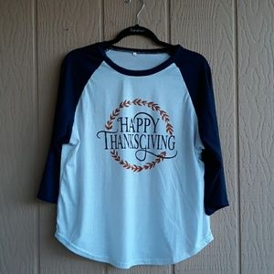 Tops - Happy Thanksgiving baseball tee XL